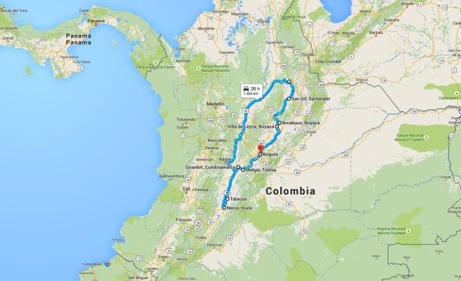mapa viaje bucaramanga neiva